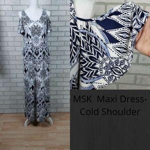 NWT MSK Cold Shoulder Maxi Dress Flutter Sleeves M